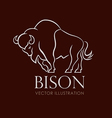 line sing logo emblem bison on brown background vector image vector image
