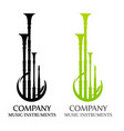 logo with bagpipes in flat black and green colors vector image
