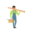 male professional carpenter in uniform holding vector image