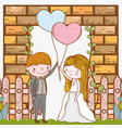 man and woman with hearts balloons and fence vector image vector image