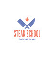 meat logo logo for steak school with icon chef vector image vector image