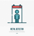 metal airport detector with man inside vector image