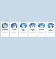 mobile app onboarding screens online sales vector image vector image