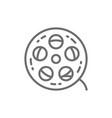 movie reel cinema roll film strip line icon vector image