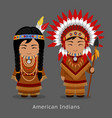 native american indians in national dress vector image vector image