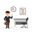 office worker with clock vector image