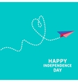 Paper plane with heart Dash line Happy vector image vector image