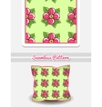 Pillow Pink Flowers On Green vector image vector image