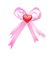 pink bow and red heart vector image vector image
