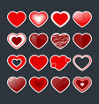 red hearts labels in different style vector image vector image