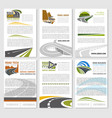 road travel company posters set vector image vector image