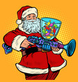 santa claus candy machine christmas and new year vector image vector image