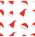 santa hats background christmas seamless pattern vector image