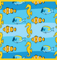 seamless fish and seahorse pattern vector image vector image