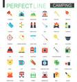 set flat camping hiking icons vector image