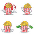 set of popcorn character with listening call me vector image vector image