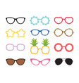 set real colorful style cute glasses party vector image vector image