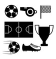 soccer field whistle flag sneaker ball trophy vector image