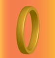 three-dimensional gold ring on an orange vector image vector image