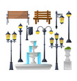 urban elements set street lamps fountain park vector image vector image