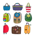 Variety Luggage Bags Backpacks and Suitcases vector image vector image