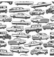 vintage cars and auto seamless pattern background vector image vector image