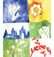 Watercolor abstract nature cards vector image vector image