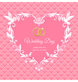 Wedding heart frame pink vector image