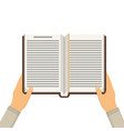 book with hands vector image