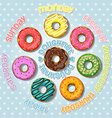 Collection of colorful doughnut vector image