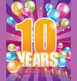 10 years birthday card vector image