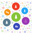 7 pine icons vector image vector image