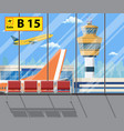 airport terminal with seats plane control tower vector image vector image