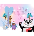 animals with hearts on valentines day vector image