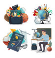 back to school posters with student in class vector image