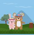 bear and rabbit cute hippie cartoon vector image vector image