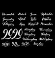big handdrawn calligraphic monthly set with vector image vector image