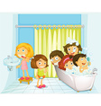 Children in bathroom vector image