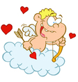 Cupid with Bow and Arrow Flying in Cloud vector image
