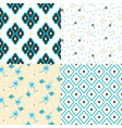 floral and geometry seamless pattern set vector image vector image