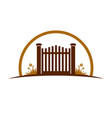 garden old gate logo symbol graphic design vector image