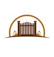 garden old gate logo symbol graphic design vector image