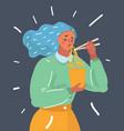 girl enjoying her ramen noodle chopstick vector image vector image