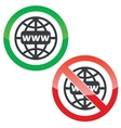 Global network permission signs set vector image vector image