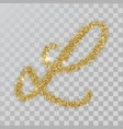 gold glitter powder letter l in hand painted style vector image vector image