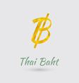 Golden Baht Symbol vector image vector image