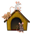 group cute mouses with little house isolated vector image vector image