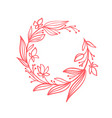 hand drawn flower wreath with branches vector image vector image
