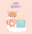 happy birthday fox with gifts celebration vector image