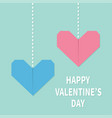 happy valentines day sign symbol pink blue vector image vector image
